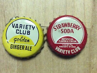2 Different   Variety Club  Soda  Bottle Caps -   Cork Lined - Used