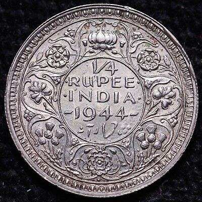 1944 British India 1/4 Rupee Silver Coin    FREE S/H To USA