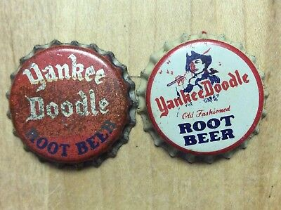 2 Different  Yankee Doodle  Soda  Bottle Caps -   Cork Lined - Used