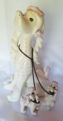 Vtg LARGE Figurine Mother Pink Poodle Puppies  Chained KREISS & CO. Spaghetti