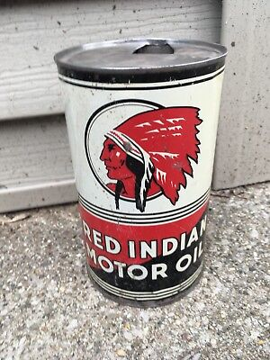 Vintage Red Indian Quart Oil Can Rare Empty Metal NO RESERVE!!