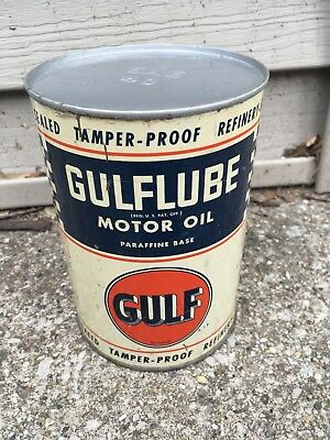 Vintage Gulf Blue and White Checkered board quart oil can Empty Metal NO RESERVE