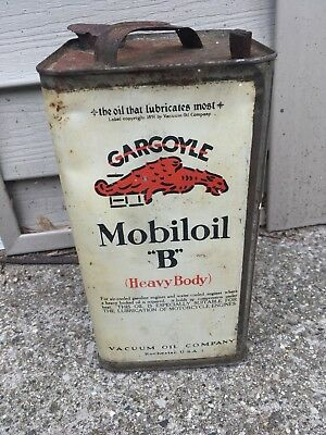 Vintage Early Mobil Gargoyle one gallon oil can metal 1920s NO RESERVE!