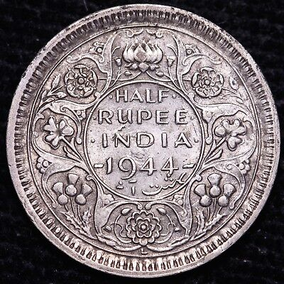 1944 British India 1/2 Half Rupee Silver Coin #2     FREE S/H To USA