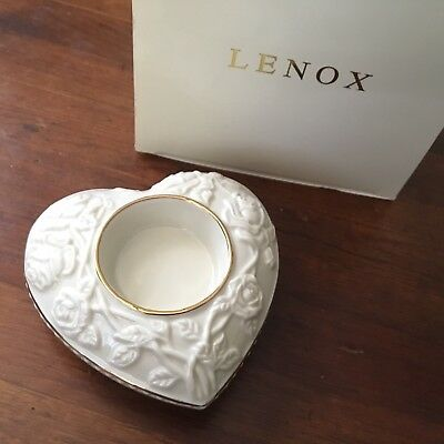 Lenox Heart Votive Candle Holder With Ivory Gold Embossed Flower Decor With Box