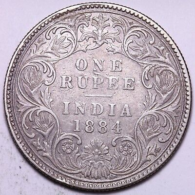 1884 British India 1 One Rupee Silver Coin     FREE S/H To USA