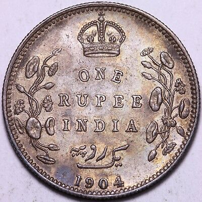 1904 British India 1 One Rupee Silver Coin     FREE S/H To USA