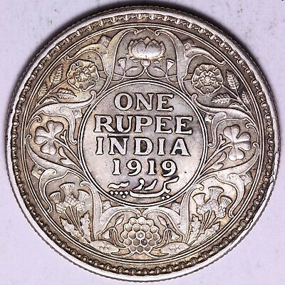 1919 British India 1 One Rupee Silver Coin     FREE S/H To USA