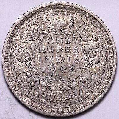 1942 British India 1 One Rupee Silver Coin      FREE S/H To USA