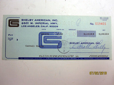 Cobra Mfg. Shelby American cancelled check to Carroll Shelby
