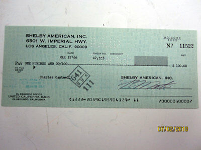 Cobra Mfg. Shelby American cancelled check to Mr.GT350 Chuck Cantwell