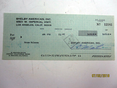 Cobra Mfg. Shelby American cancelled check to race car driver Bruce McLaren