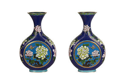China 20. Jh. Emaille Vasen A Pair Of Chinese Cloisonne Enamel Moon Flasks Chine