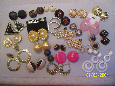 Vintage Lot Of 22  Pairs Wearable  Earrings Some Very Large Some Very Heavy