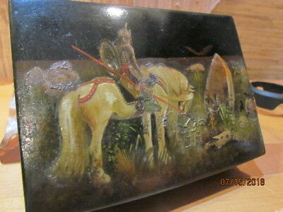 Vintage Pushkin Lacquer Box Russian Hand Painted Signed Knight /graveyard