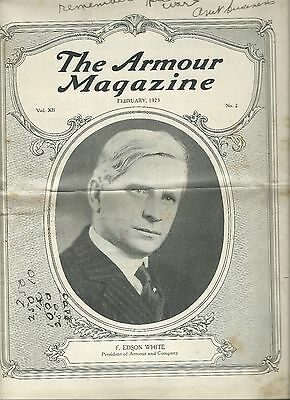 The Armour Magazine Issued February 1923 Vintage History 32 Pages Some Staining