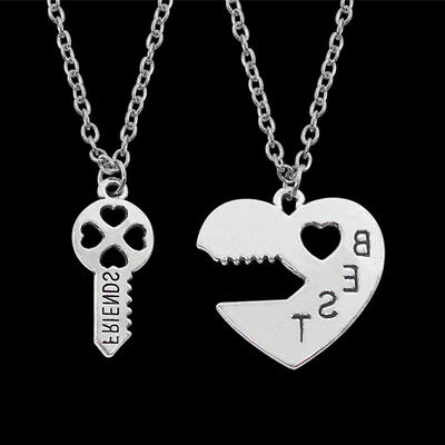2Pcs Necklace Best Friend Friendship Heart Key Silver Plated Pendant Couple