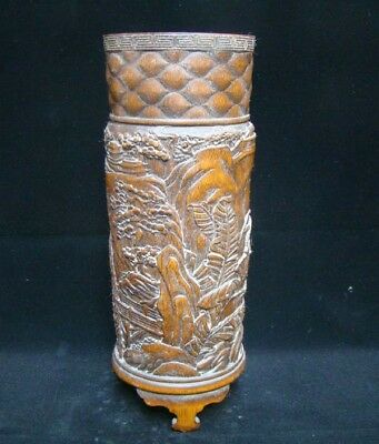300mm Collectible Handmade Carving Bamboo Brush Pot Statue Scenery