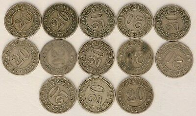20 Centesimi Italy 1894-1895 Coin Lot Of 13 World Foreign Combined Shipping D1
