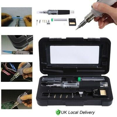10 in 1 Pro Self-Ignition Gas Soldering Iron Set Cordless Welding Torch Tool Kit