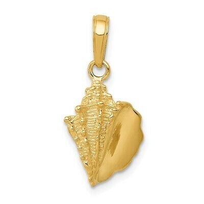14K Yellow Gold Solid Polished Conch Shell Pendant 21x10mm 1.46gr
