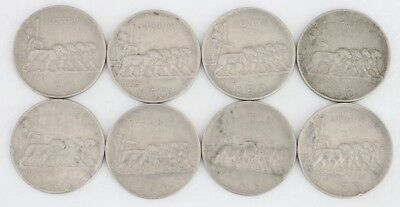 50 Centesimi Italy 1920-1925 Coin Lot Of 8 Rare Reeded Edge Combined Ship C82