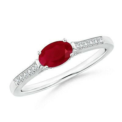 70729809f EAST WEST SET Solitaire Oval Ruby Diamond Ring Gold/Platinum ...