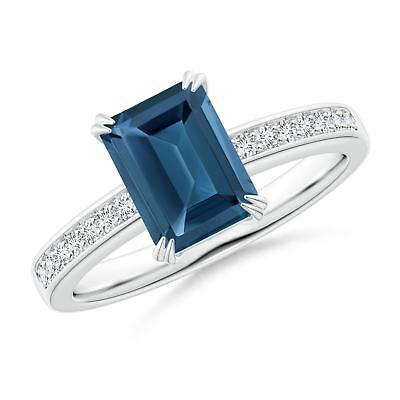 2ct Natural Emerald-Cut London Blue Topaz Diamond Cocktail Ring Gold/Platinum