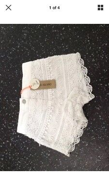 River Island Mini Baby Girls White Lace Shorts Bnwt Age 3-6 Months