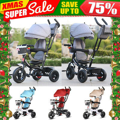 4in1 Reverse Baby Kids Toddler Tricycle Bike Trike Ride-On Toys Stroller Prams