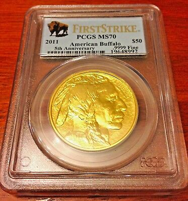 1 Oz Gold Buffalo Coin 2011 First Strike Pcgs Perfect! Ms70