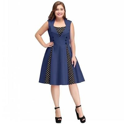 Women Square Collar Plus Size Polka Dots Printed Sleeveless Knee-Length Dress