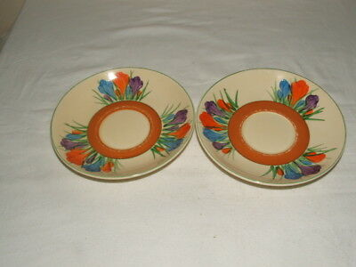 Clarice Cliff Art Deco Hand Painted Autumn Crocus Saucers Truly  Stunning