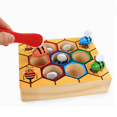 Preschool Wooden Clip Bee Out Box Montessori Educational Toy Games Gift