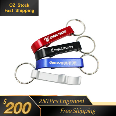 250 custom Engraved personalised promotional Aluminium Bottle Opener Key Ring