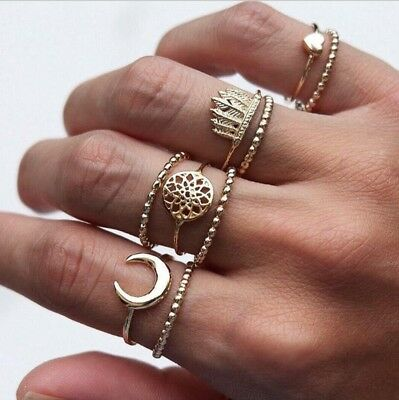 7Pcs Vintage Gold Boho Dream Catcher Midi Finger Knuckle Rings Set Jewelry Women