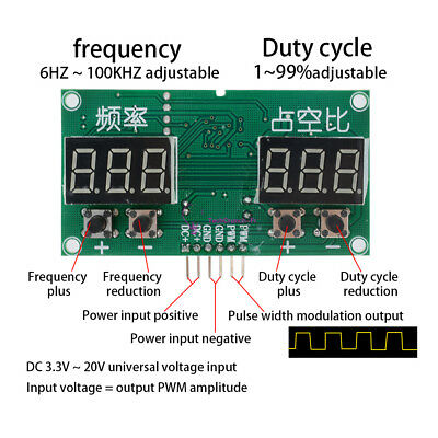 PWM Pulse 0-99% Frequency 6Hz-100KHz Square Wave Signal Generator Duty Cycle