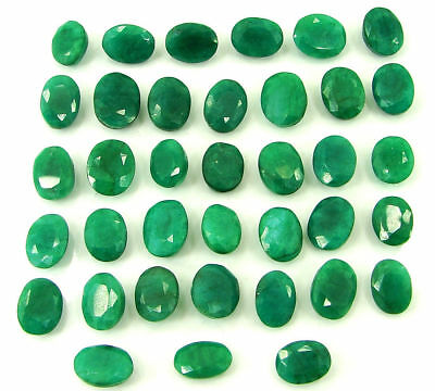 200.00 Ct Natural Green Emerald Loose Oval Gemstone Lot of 37 Pcs Stone - 21262