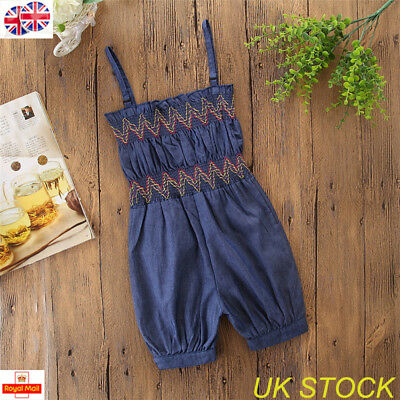 UK Toddler Girl Baby Summer Strap Jumpsuit Romper Outfits Cowboy Clothes 1-6Year