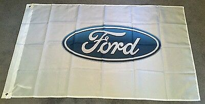 FORD WHITE HUGE Flag..Classic car show, Man Cave, Garage, Shed