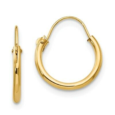 Genuine 14k Yellow Gold Polished//Textured Hoop Earring 23x1.5mm