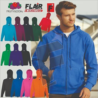 Fruit Of The Loom Men's Lightweight Hooded Raglan Sweat Jacket, 14-Colour ,