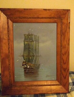 Beautiful Authentic 22x18  Garcia Ship Oil Painting