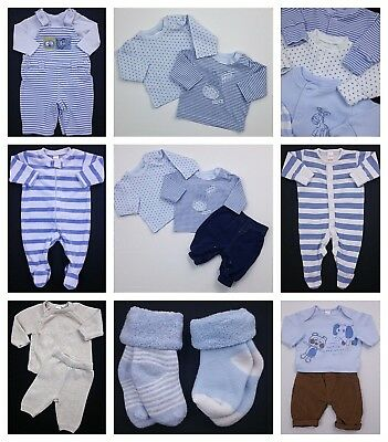 Newborn Boys NEXT 17 Piece Bundle Sleepsuits Trousers Upto 1 Mth Upto 10lbs VGC