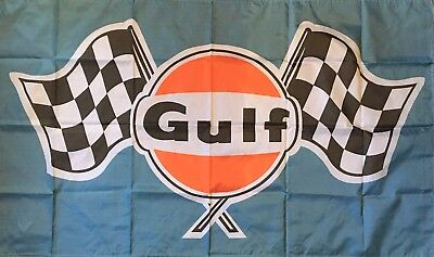 GULF OILS FLAG  HUGE Retro Classic car show, Man Cave, Garage, Shed