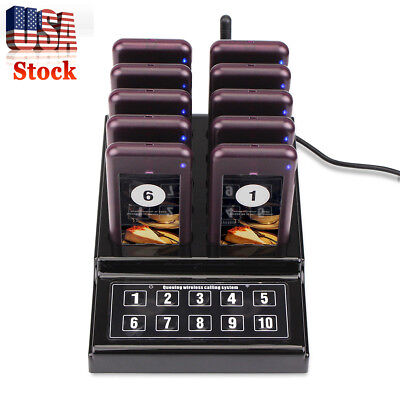 Restaurant Equiment Wireless Guest Paging Queuing System Transmitter+10xPager US
