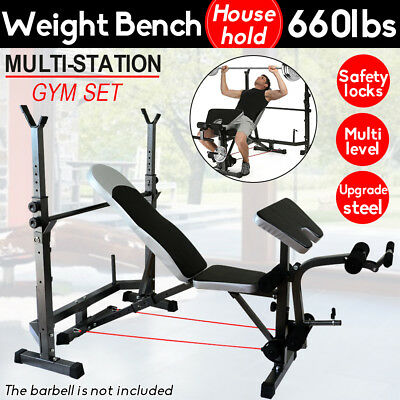 Multi-Station Weight Bench Press Fitness Weights Equipment Flat Incline Home Gym
