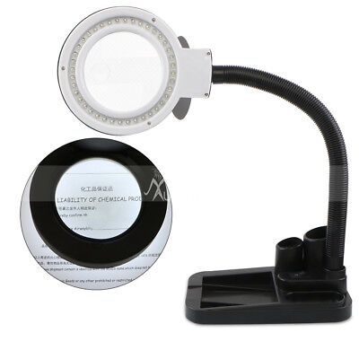 Magnifying Crafts Glass Desk Lamp 5X 10X Magnifier With 40 LED Lights Home Use