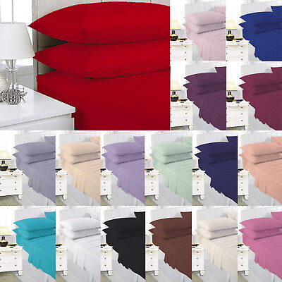 Flat Sheet Or Pillowcases Single Double King Super King Poly Cotton All Colours
