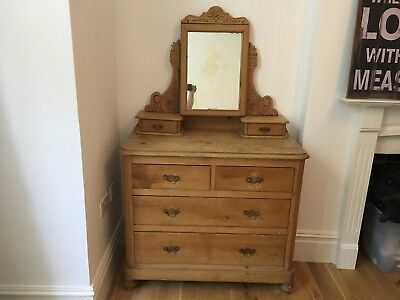 antique pine chest of drawers - perfect shabby chic if painted - No Reserve
